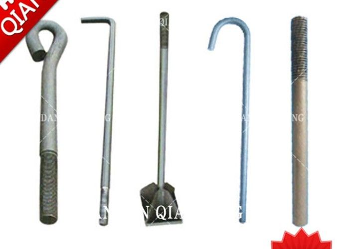Galvanized T Type Iron Foundation Anchor Bolts M100 For Concrete High Strength