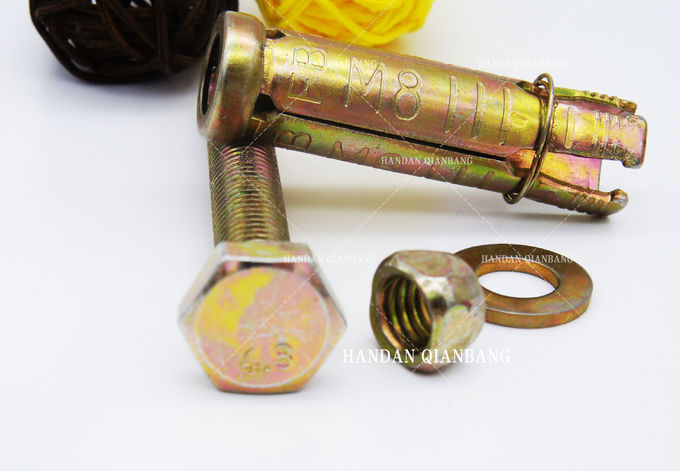 DIN 4PCS Expansion Fixing Anchor Bolt With Yellow Zinc 4.8 Grade 50mm -100mm